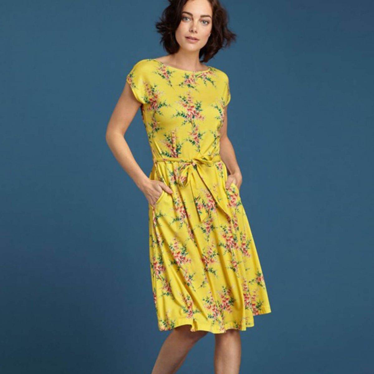 Gul klänning Grace, Miljövänligt tyg